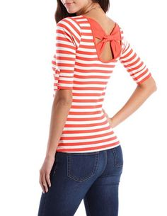 Bow-Back Roll-Cuff Stripe Top: Charlotte Russe