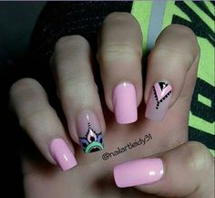 Manicura de día viernes Perfect Nails, Gorgeous Nails, Love Nails, Fun Nails, Pretty Nails, New Nail Art, Easy Nail Art, Henna Nails, Aztec Nails