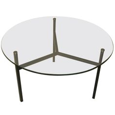 1stdibs Com 1970 S French Round Glass Top With Black Iron Base Coffee Table Metal Base Coffee Table Round Glass Coffee Table Round Glass Table Top