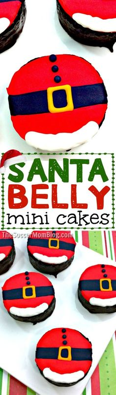 Even the Grinch would agree that these Mini Santa Belly Cakes are the cutest Christmas treat ever!! #Christmas #dessert #holidayparty