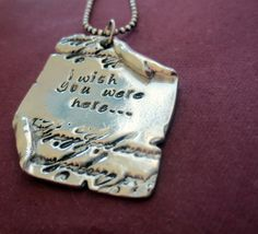 Custom quote scroll necklace to share with your love. A little long distance love momento . Hand stamped by DreamWillowStudio on etsy  https://www.etsy.com/listing/226445136/personalized-hand-stamped-custom-quote