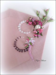 runner by nigarhikmet, via Flickr, ribbon flowers, embroidery