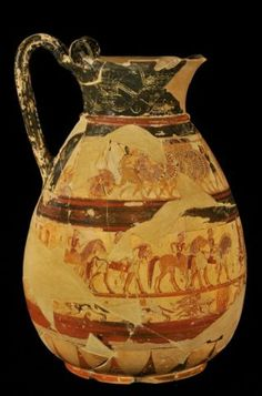 The Chigi Vase, a mid-7th cent. BC Corinthian wine-pitcher bearing the earliest known depiction of Classical Greek warriors in phalanx formation, in the National Etruscan Museum at Villa Giulia.
