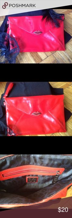 Hot-Red Faux Patent Kiss Clutch💋💋 This red envelope large kiss clutch is too cute! Faux rhinestones on kiss💋With zippered inside pocket and wrist handle. 14x91/2.  Excellent condition. Kirna Zabete Bags Clutches & Wristlets