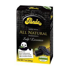 Panda Black Licorice - its really not my cup of tea-(snack wise) But it helps with blood pressure also a expectorant, and if you ea large amounts its a mild laxative