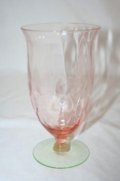 VINTAGE ELEGANT PINK AND GREEN WATERMELON GLASS DIAMOND OPTIC ICED TEA GOBLET | eBay