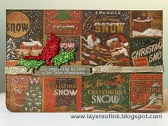 Layers of ink - Simon Says Stamp Holiday Card Kit inspired by Tim Holtz. Christmas cards made with the products in the card kit, and some Sizzix dies.
