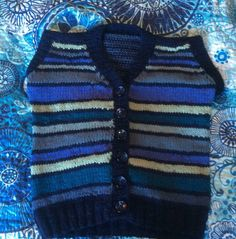 Child's vest hand knit in 8 ply wool. Size approx 6 - Cheerful stripes in navy, blue, grey-green and pale green; navy with grey smudges buttons. Green And Grey, Blue Grey, Angela White, Polo Neck, Hand Knitting, Brother, Tee Shirts, Vest, Stripes