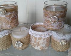 RESERVADO para JO rústico votivas velas país nupcial ducha belleza Simple conjunto de siete país francés cordón arpillera de colores opcionales