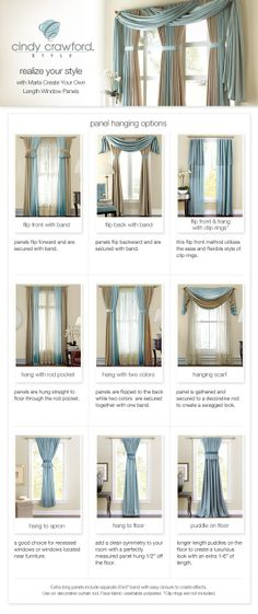 Curtain Styles... when i decided what curtains i want... have been in the house for over 10 years and still no curtains...LOL