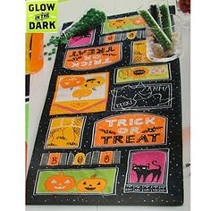"Glow in the Dark Halloween Table Runner- 13"" X 36"" Midnig…"