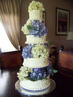 wedding cakes with hydrangeas\ | Classic Hydrangeas Wedding Cake