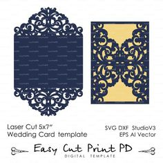 $5 on etsy Wedding invitation Pattern Card Template Lace folds (studio V3, svg, dxf, ai, eps, png, pdf) lasercut Instant Download Silhouette Cameo