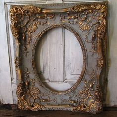 Large ornate picture frame wood w/ gesso antique French farmhouse distressed gray and gold wall hanging home decor anita spero design - French antiques models and images Antique Picture Frames, Antique Pictures, Antique Frames, Vintage Frames, Distressed Picture Frames, Grand Cadre Photo, Frames For Sale, Gold Walls, Paint Furniture