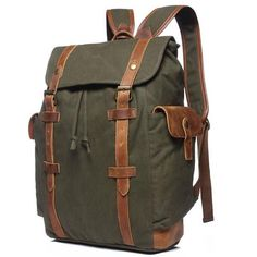 Waterproof Rucksack School Backpack Waxed Canvas Leather Travel Backpack Large Backpack