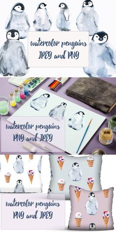 Animals Images, Baby Design, Penguins, Watercolor, Pattern, Pen And Wash, Watercolor Painting, Patterns, Penguin