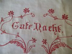 Antique Victorian German Good Night words Gute Nacht Turkey Red Embroidery sold as-is table runner doily Pillow cover Good Night Words, Small Pillows, Linens And Lace, Vintage Textiles, Doilies, Table Runners, Etsy Store, Hand Embroidery, Pillow Covers