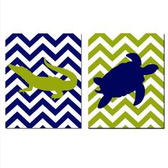 Modern Alligator Turtle Duo  Set of Two 11x14 Chevron by Tessyla, $48.50
