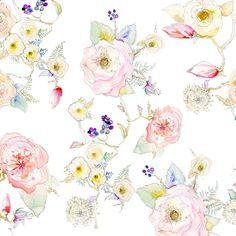 Floral White Vine Watercolor Wallpaper