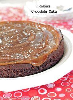 Flourless Chocolate Cake with caramel on top