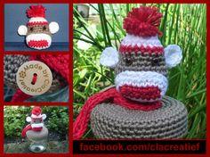 ©ClaCreatief  Snoeppotje  Sock-monkey gehaakt op het dekseltje. Meer informatie vindt je op mijn facebookpagina: https://www.facebook.com/clacreatief/