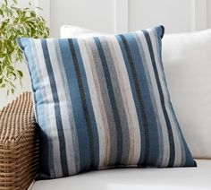 We've partnered with Sunbrella® to create a design-minded line of outdoor pillows that stand the test of sun, wind, rain and time. This exclusive pattern features stripes of varying blues and grays that nod to nautical style. Outdoor Fabric, Outdoor Rugs, Indoor Outdoor, Outdoor Art, Outdoor Living, Outdoor Decor, Outdoor Cushions And Pillows, Outdoor Pillow, Throw Pillows