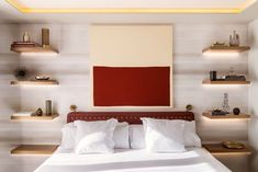 Bedroom Design Idea – Replace A Bedside Table And Lamp With Floating Shelves And Hidden Lighting