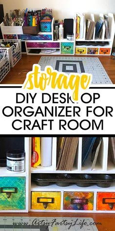 Tips and ideas for how to make a super cute desktop organizer that will let you organize your craft supplies the easy way! Great for your craft room or office work desk. The best wooden organizer with drawers and shelves for all your bits and bobs! Diy Crafts Desk, Craft Room Desk, Craft Room Storage, Diy Storage, Diy Craft Projects, Diy Desktop Organizer, Wooden Organizer, Desktop Organization, Diy Organizer