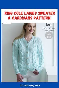 These King Cole ladies sweaters and cardigan knitting patterns are not only about something practical and something you will be happy about but also proving that it's possible to make elegant, wearable and fashionable cardigans right at the comfort of your home. The knitting patterns feature cardigans that come in different colors and different finishes. The patterns cover a variety of sizes including larger sizes. #cardiganpatterns#sweaterpatterns#knittedsweaterpattern#easesweaterpatterns Jumper Patterns, Cardigan Pattern, Sweater Cardigan, Knitting Patterns, Ladies Sweaters, The Cardigans, King Cole, Getting Cozy, Perfect Match