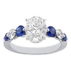 Oval Diamond Engagement Ring blue sapphires   diamonds side stones Vintage  Snubné Prstene b21956a208d