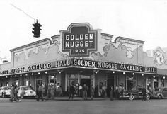 A busy day at the Golden Nugget Gambling Hall, Fremont Street in the late 1940s. vintage Las Vegas