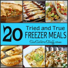 Six Sisters' Stuff: Fresh Food Friday: 20 Tried and True Freezer Meals. Going to make some of these before baby comes!