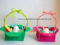 Canastitas en fieltro para huevos de pascua-Manualidades para niños.DIY-PASO A PASO Crafts For Kids, Arts And Crafts, Birthday Parties, Gift Wrapping, Easter, Handmade, Reggio Emilia, Party Ideas, Candy