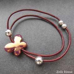 Bracelet cuir Papillon  Une création Zolis bizoux  www.zolisbizoux.com