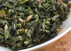 Sauteed Collard Greens with Bacon Recipe Side Dishes with olive oil, bacon, garlic, collard greens, salt