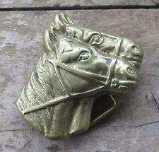 Horses Western Cowboy Cowgirl Brass Vintage Belt Buckle