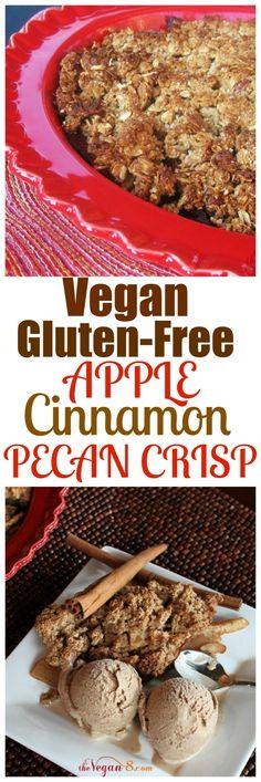 Vegan Apple Cinnamon Pecan Crisp. Vegan , gluten-free, oil-free Apple Cinnamon Pecan Crisp. So easy, delicious and healthy with no butter or oil.