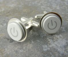 Power Up Cuff Links, White, Mac Power Button Recycled by KeyedUp, $27.00...... : )  (need your own....oooh!)