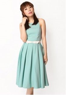 TAKE A BOW BELT DRESS IN TIFFANY