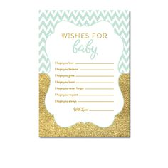 Baby Shower Mint Green Gold Glitter Chevron - Activity Wishes for Baby - Instant Download Printable