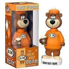 A the Great Root Bear Wacky Wobbler Bobble Head Vinyl Toys, Vinyl Art, Popeye And Olive, Bratz Girls, Wacky Wobbler, A&w Root Beer, Retro Toys, Bobble Head, Teddy Bear