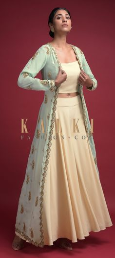 Buy Online from the link below. We ship worldwide (Free Shipping over US$100)  Click Anywhere to Tag Buttermilk-Beige-Palazzo-Suit-With-Mint-Jacket-Adorned-With-Gotta-Patch-And-Zardozi-Work-Online-Kalki-Fashion Indian Dresses, Indian Outfits, Anarkali, Lehenga, Party Wear Dresses, Wedding Dresses, Lehnga Dress, Palazzo Suit