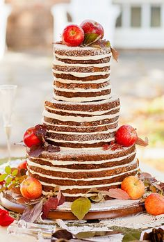 fall wedding cake; rustic wedding cake; inside-out wedding cake; #fall; #weddings; photo by Natalie Bell Photography