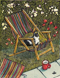 """Cat in Summer"" (2013) - Linocut by Vanessa Lubach"