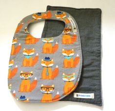 Baby Boy Bib Flannel Burp Cloth Fox Baby Bib by TheCreativeRaccoon