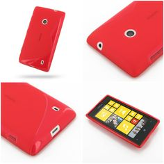 PDair Soft Plastic Case for Nokia Lumia 525 (Red/S Shape pattern)