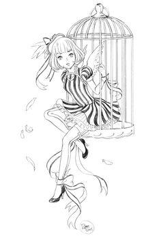 Anime-Manga Coloring Page. Canary Lolita by tsulala.deviantart.com on @DeviantArt