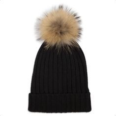 Cashmere Beanie Black Natural ($99) ❤ liked on Polyvore featuring accessories, hats, pom beanie, cashmere beanie hats, pompom hat, beanie cap hat and beanie hat