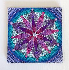 Pintura original para el Mandala de la flor púrpura en lona, pintura de 20x20cm, oficina y decoración de hogar adorno regalo Dotilism Dotart Henn