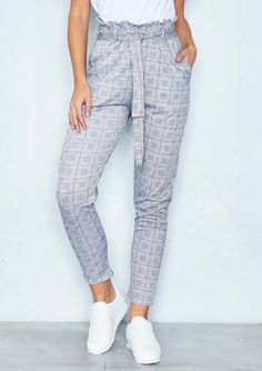Hilary Grey Dogtooth Check Paperbag Trousers